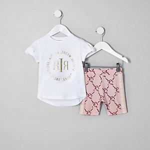 Mini - RI Active - Outfit met wit T-shirt voor meisjes