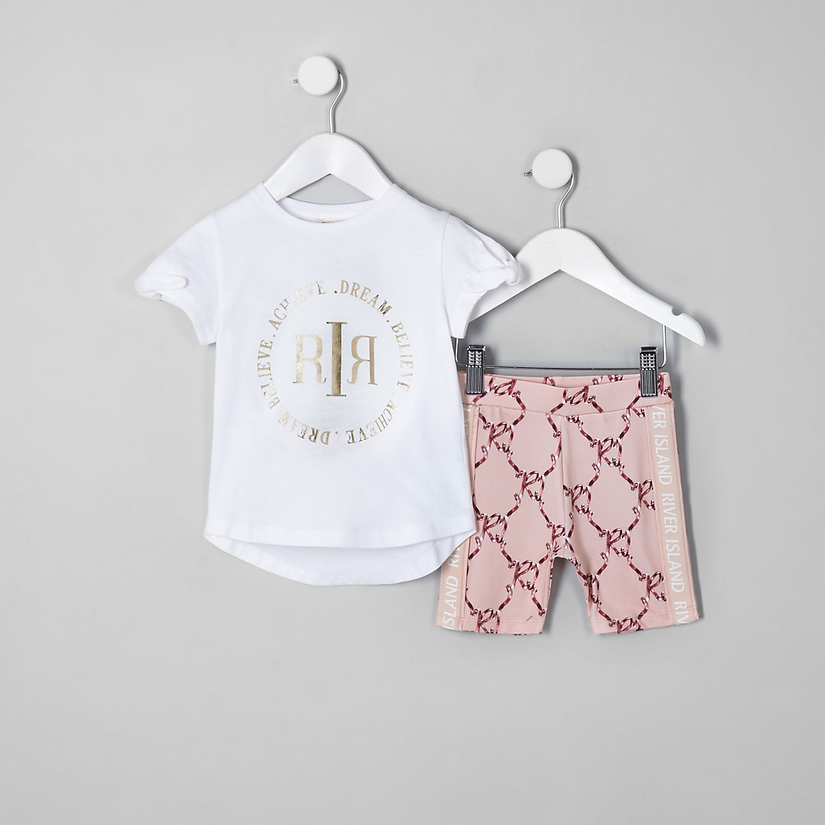 Mini girls RI Active white T-shirt outfit