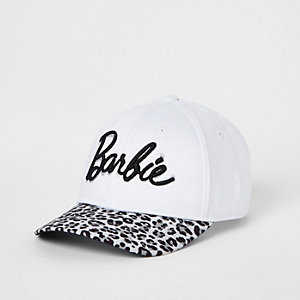 Girls white Barbie leopard print cap
