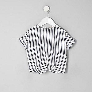Mini - Blauw gestreept T-shirt voor meisjes