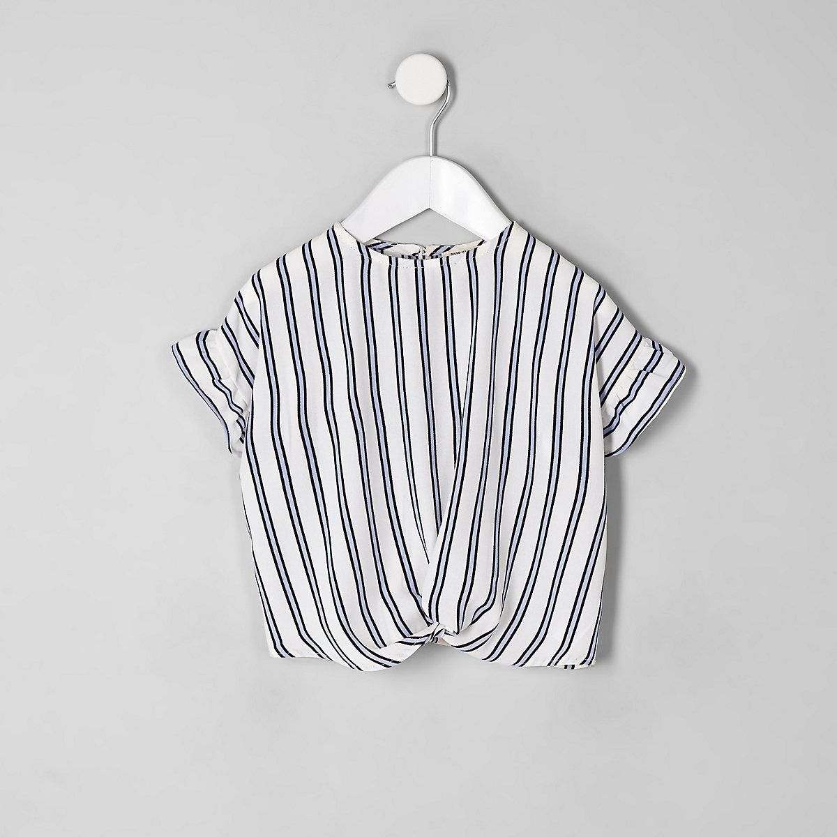 Mini girls blue stripe T-shirt