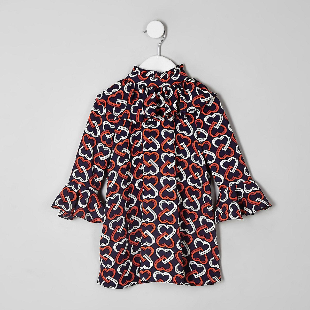 Girls navy heart print frill dress
