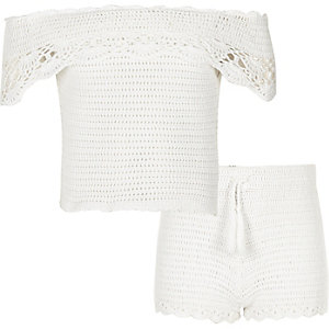 Girls white crochet bardot outfit