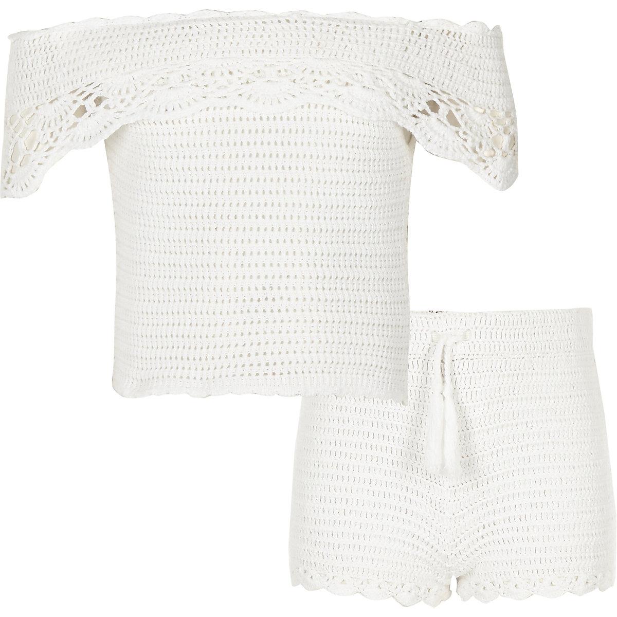 Girls white crochet bardot outfit