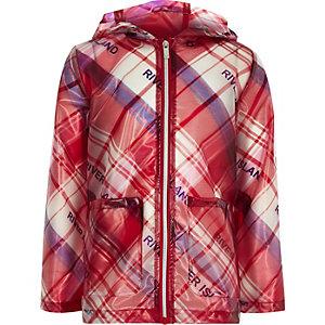 Rode geruite regenjas voor meisjes