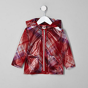 Mini girls red check RI rain mac