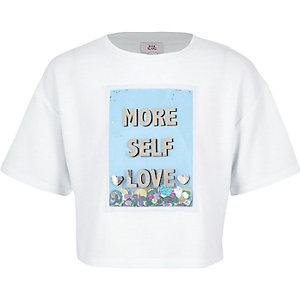 "Weißes, paillettenverziertes T-Shirt ""More self love"""