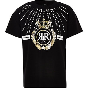 Girls black RI diamante embellished T-shirt