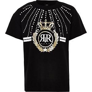 T-shirt noir avec logo RI orné de strass pour fille