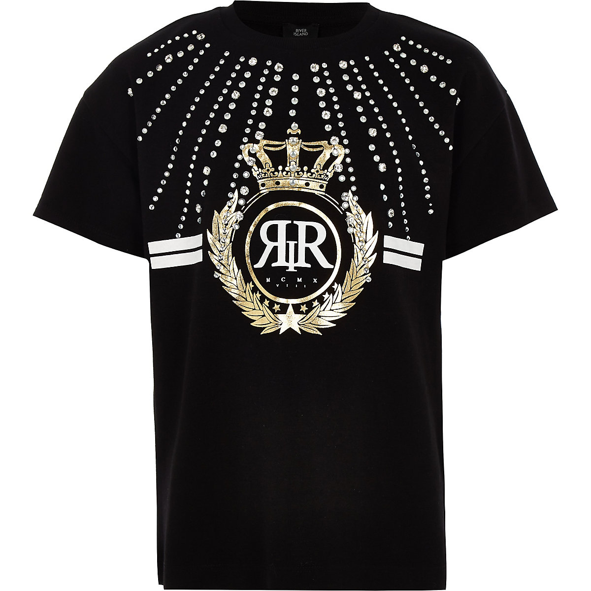Girls black RI rhinestone embellished T-shirt
