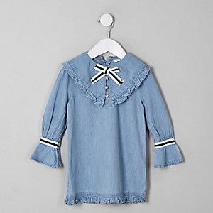 Robe droite en denim bleue avec nœud pour mini fille