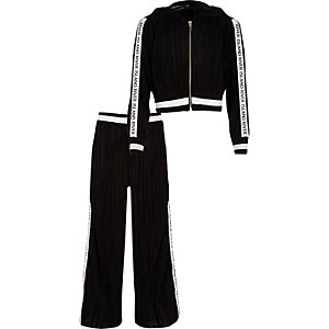 Girls black plisse RI track outfit