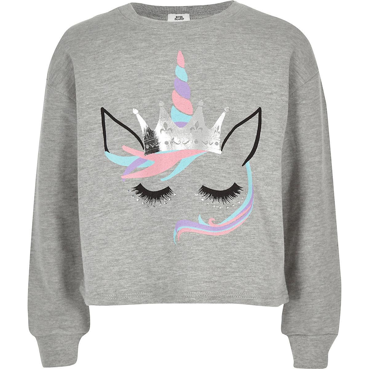 Girls grey unicorn face print sweatshirt