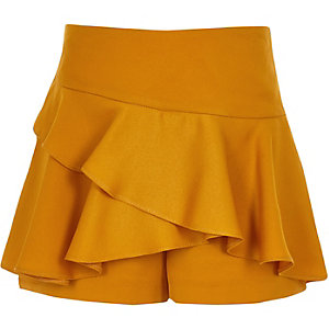 Girls dark yellow rara frill skort