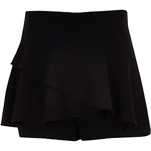 Girls black frill skort