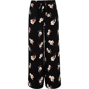 Zwarte gebloemde broek met wijde pijpen voor meisjes