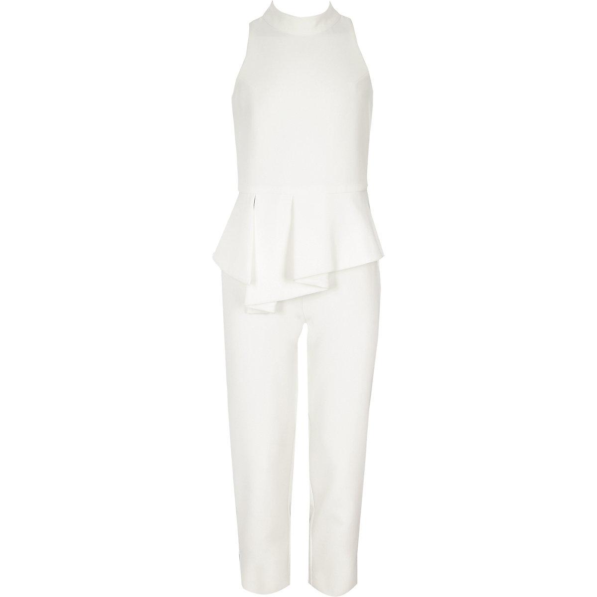 Girls white frill halter neck jumpsuit