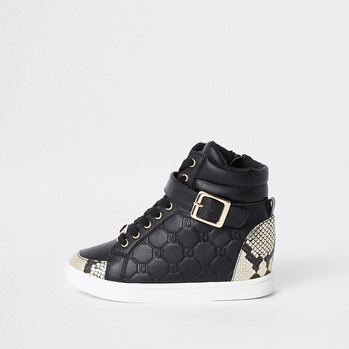 Girls black RI snake hi top trainers
