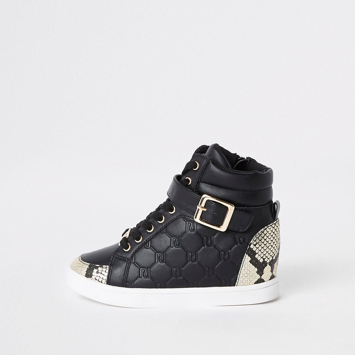 Girls black RI snake hi top sneakers