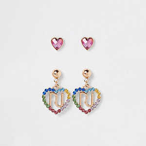 Girls rainbow heart earrings multipack