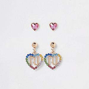 Multipack regenboog- en hart-oorbellen voor meisjes