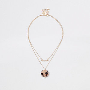 Gold tone leopard layered choker
