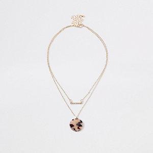 Ras-de-cou multirang motif léopard doré
