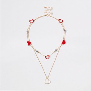 Girls gold tone heart layered necklace