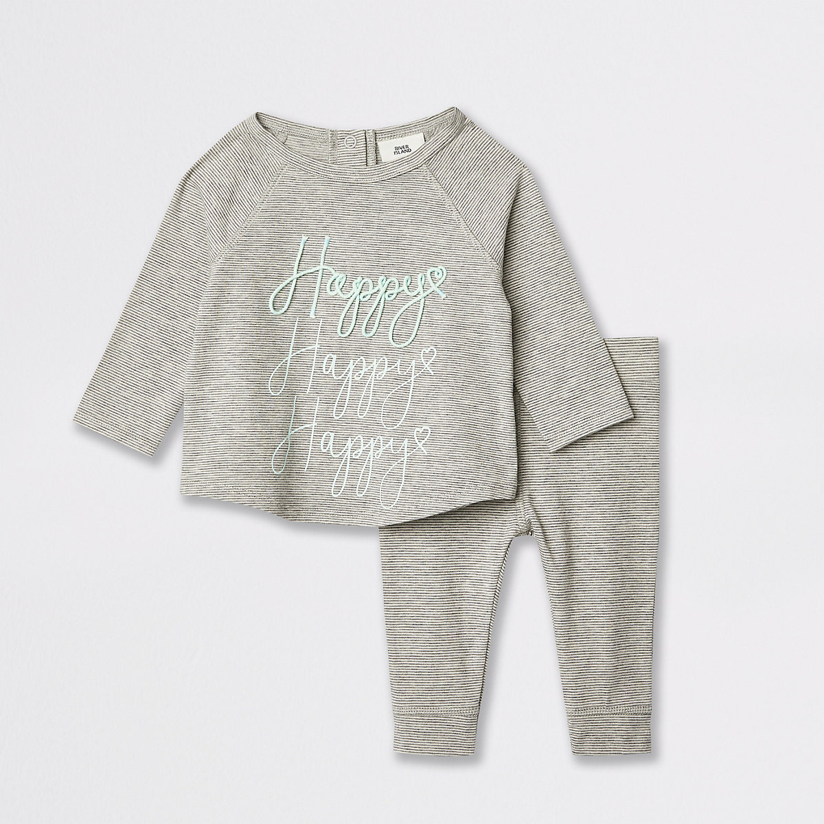Baby grey stripe embroidered T-shirt outfit