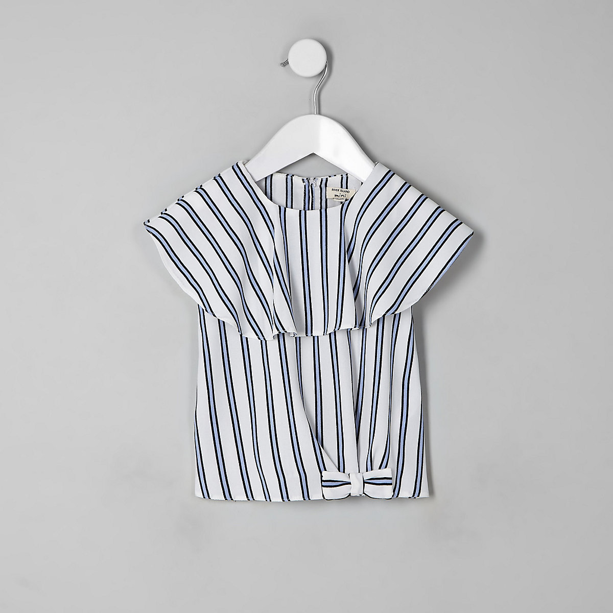 Mini girls white stripe frill top