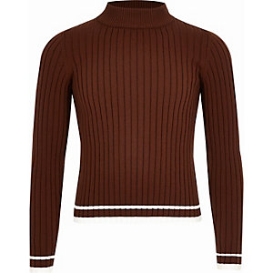 Girls brown ribbed high neck sweater