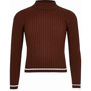 Bruine geribbelde hoogsluitende pullover voor meisjes