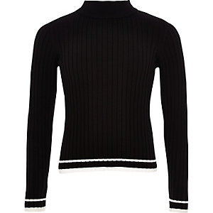 Zwarte geribbelde pullover met contrasterend randje voor meisjes
