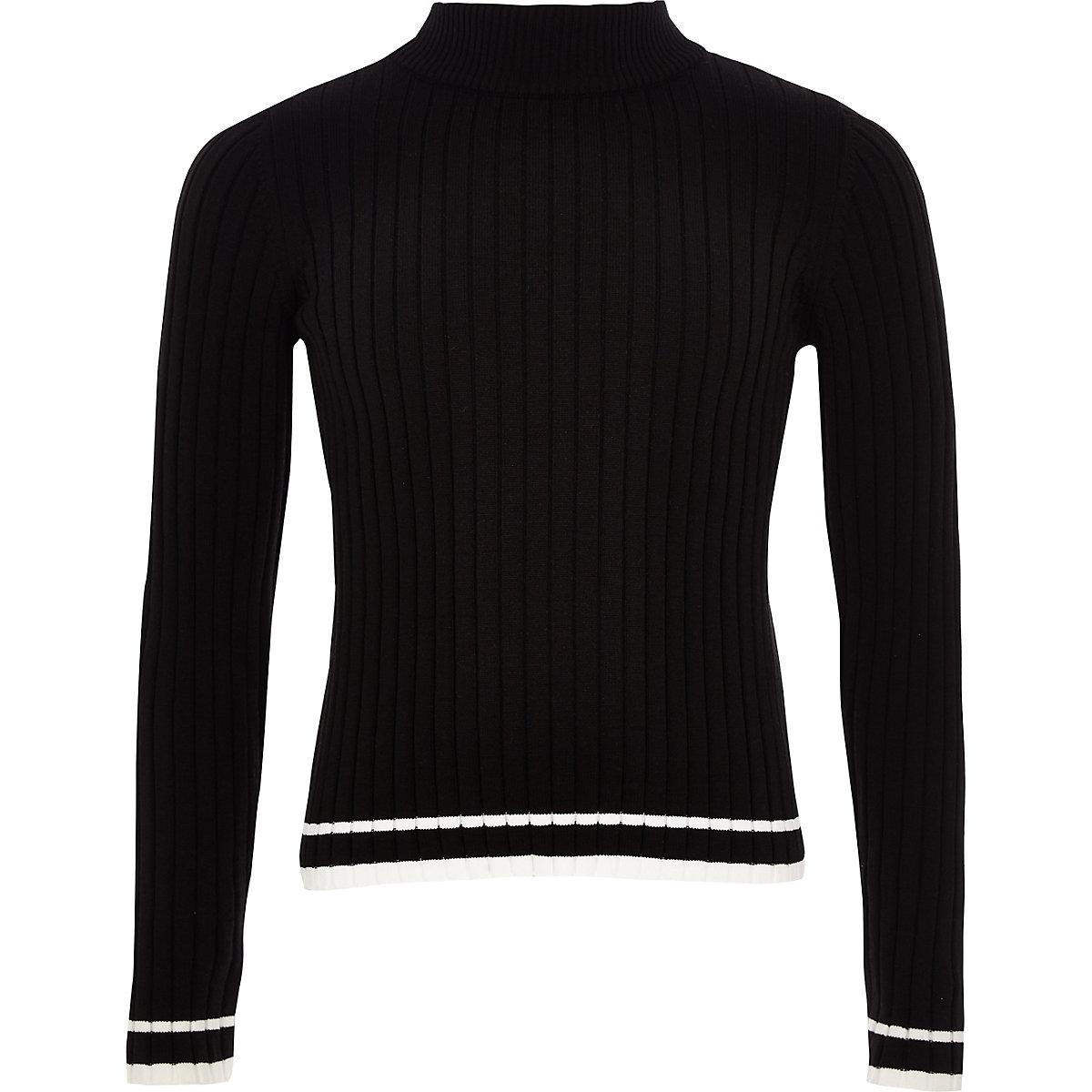 Girls black rib tipped sweater