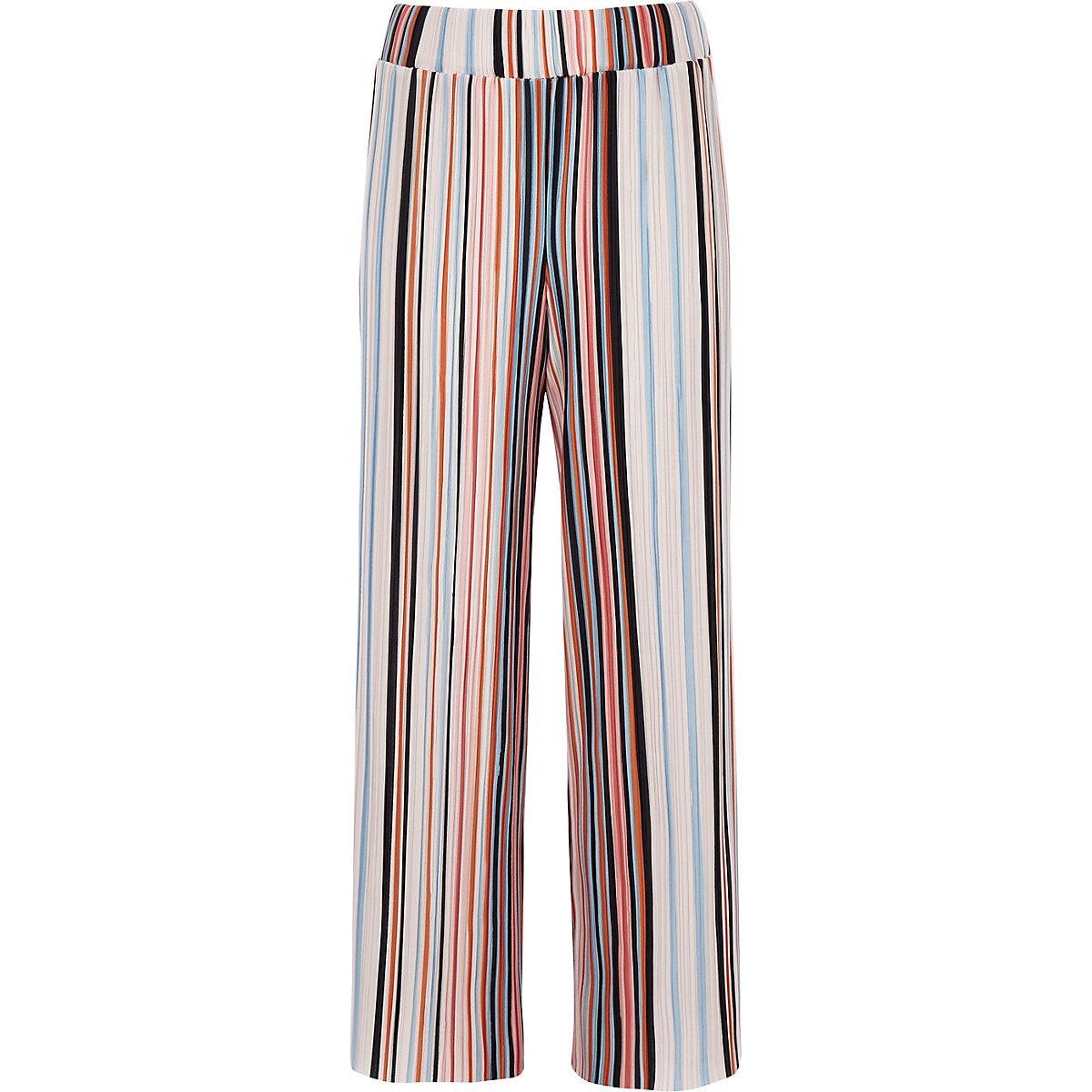 Girls orange stripe plisse wide leg trousers
