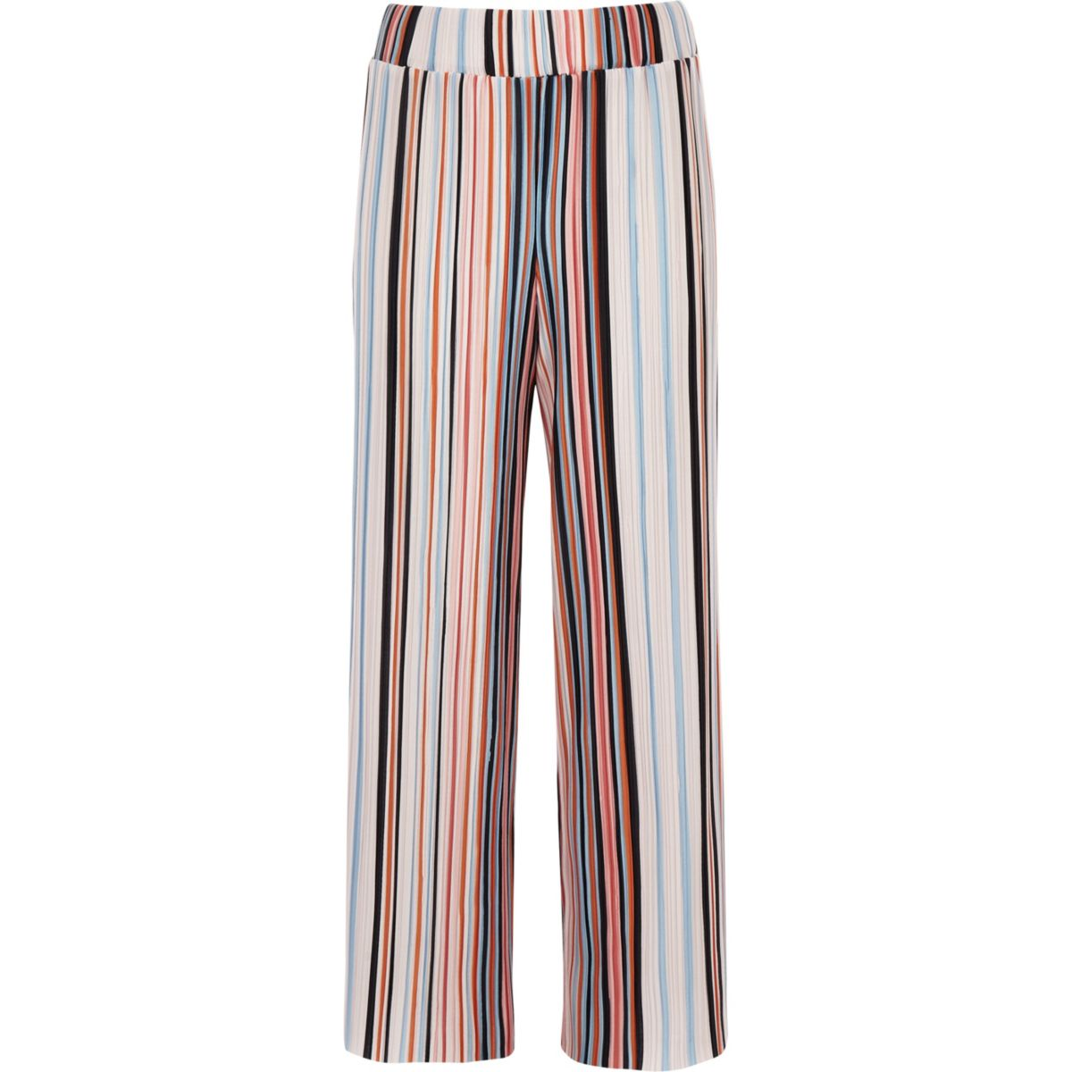 Girls orange stripe plisse wide leg trousers