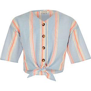 Chemise rayée orange nouée devant pour fille