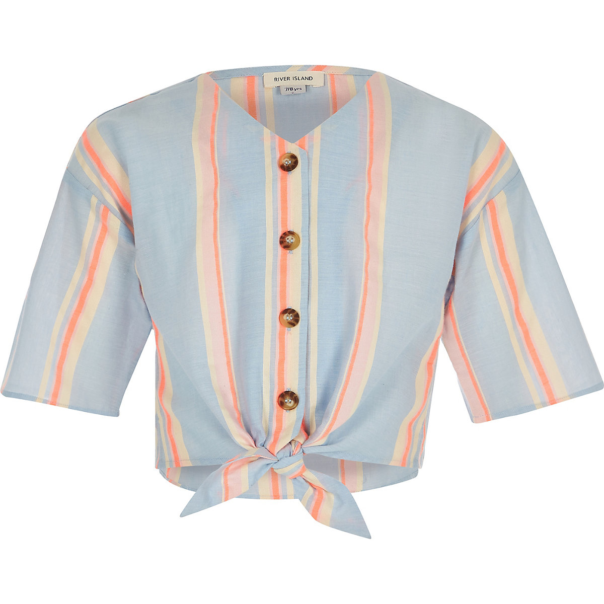 Girls orange stripe tie front shirt