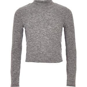 Girls grey ribbed long sleeve top