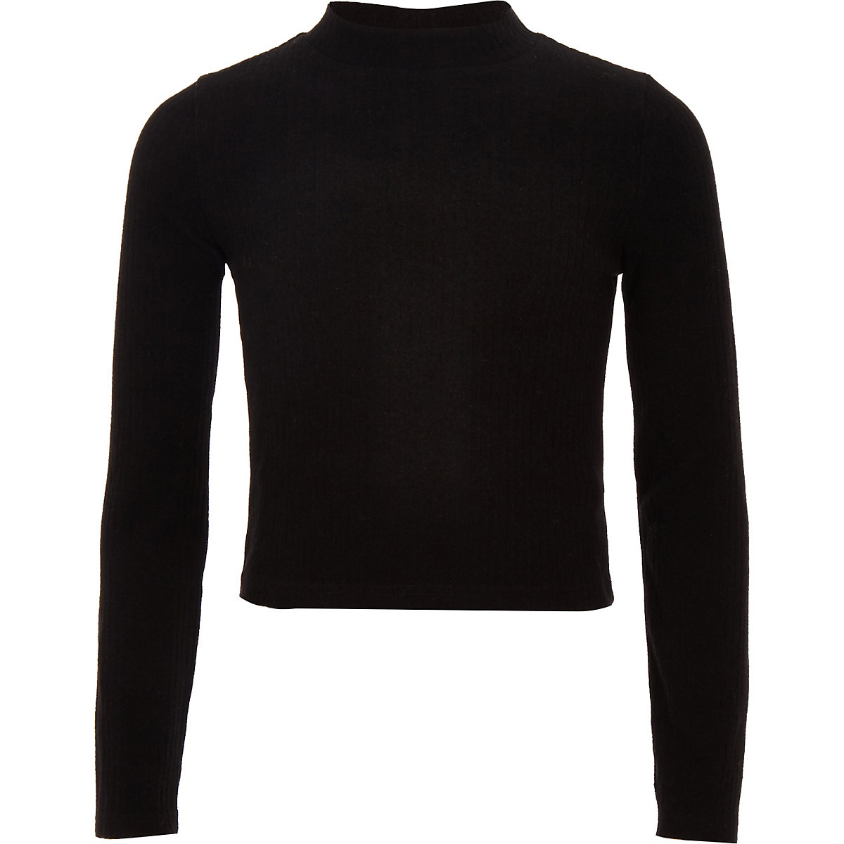 Girls black ribbed long sleeve top