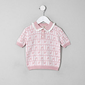Mini girls pink RI monogram polo shirt