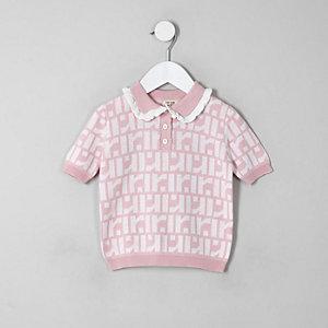 Mini - Roze poloshirt met RI-monogram voor meisjes