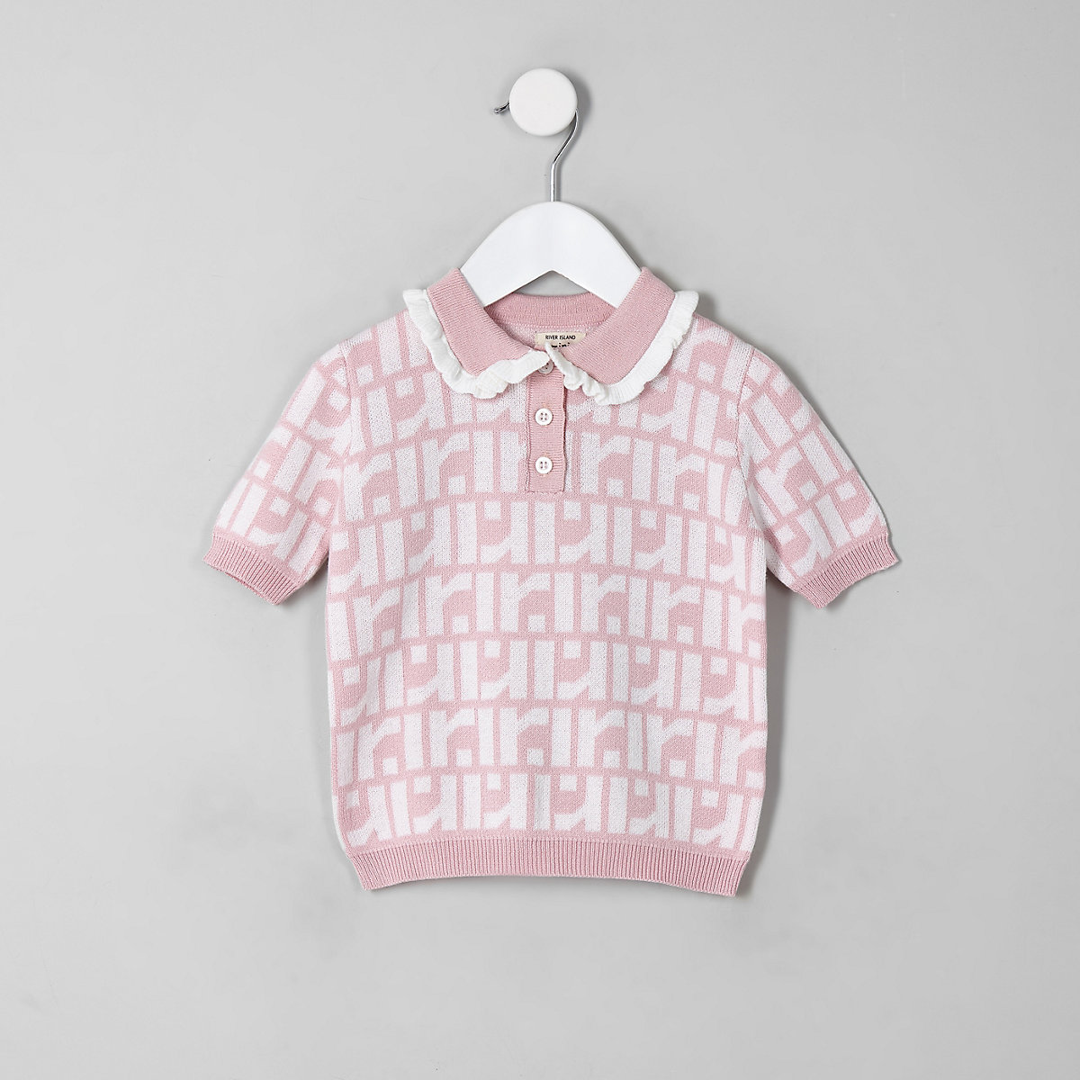 Mini girls pink RI monogram polo shirt