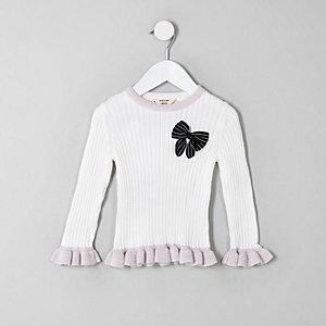 Mini - Crème pullover met strik en ruches voor meisjes