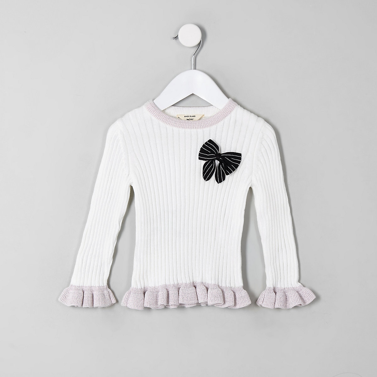Mini girls cream bow frill jumper