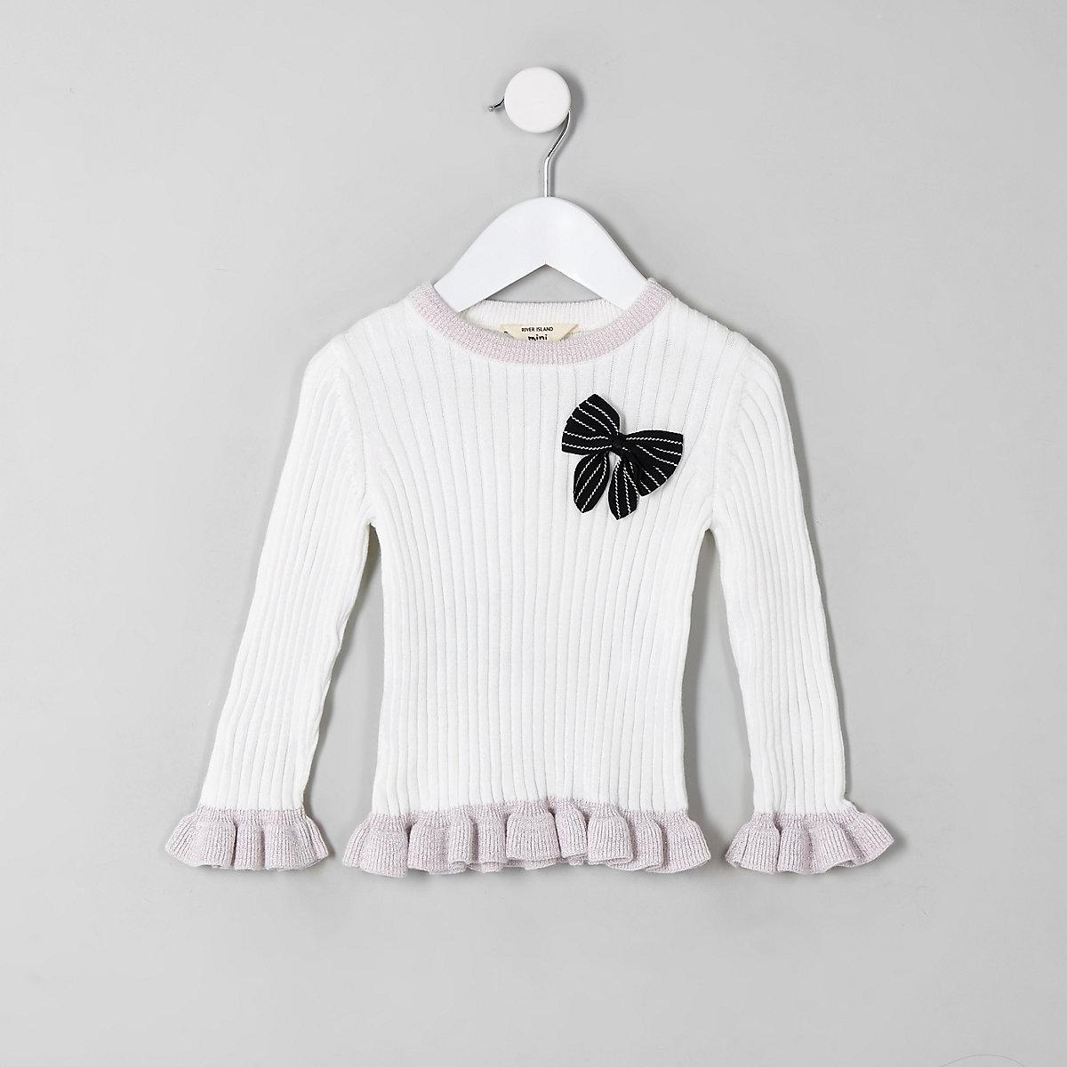 Mini girls cream bow frill sweater