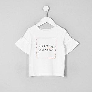 Mini - Wit T-shirt met 'Little princess'-print voor meisjes