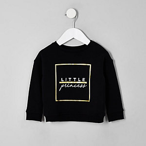 Mini girls black 'Little princess' sweatshirt