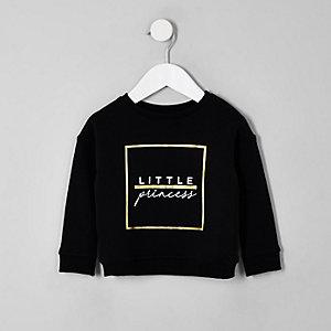 Mini - Zwart sweatshirt met 'Little princess'-print voor meisjes