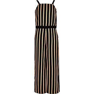 Girls black stripe jumpsuit